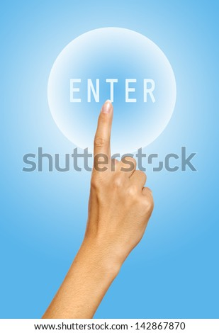 Human hand pressing Enter icon over blue background