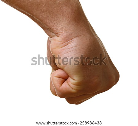 Human hand punching isolated on white background.
