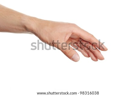 human hand reaching for something isolated on white background - stock photo