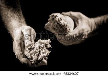 Human hand sharing food - stock photo