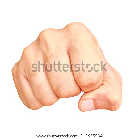 Human hand showing clenched fist isolated on white background - stock photo