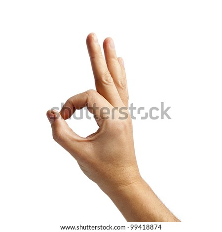 "Human hand showing ""ok"" sign. - stock photo"