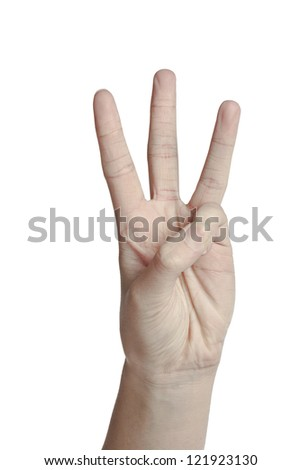 Human hand showing three fingers over a white background