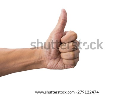Human hand showing thumbs up on white