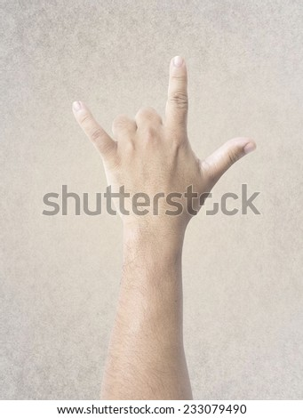 Human hand sign I Love You language gesture. - stock photo