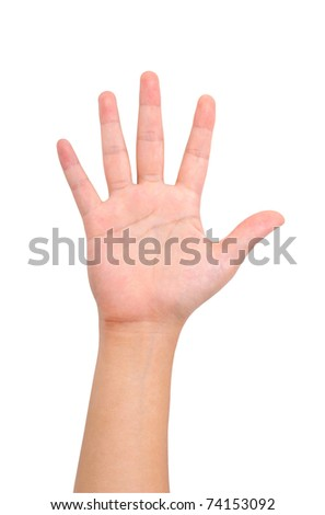 Human hand sign isolated on white