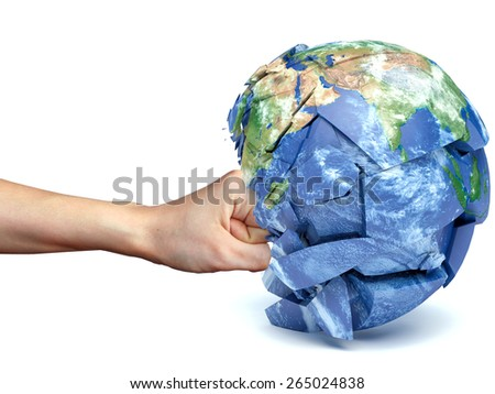 human hand strikes the planet earth - stock photo