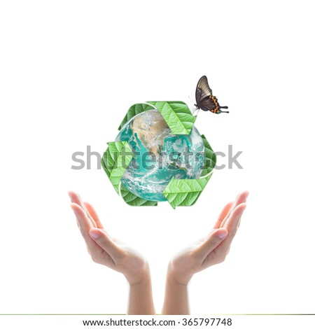 Human hand support bio recycle arrow sign shape world globe tree leaf w/ butterfly isolated on white background: Sustainable development CSR conceptual idea: Elements of this image furnished by NASA