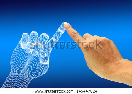 Human hand touching an 3d hand. Digital - stock photo