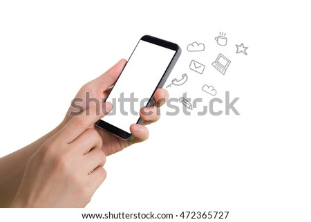 human hand touching blank screen cell phone with social media icon on isolated white background, Concept of Communications.