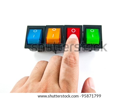 Human hand turning on a red electrical switch - stock photo