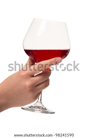 Human hand with a glass of wine. White background. Studio shot. - stock photo