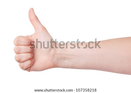 Human hand with a raised thumb on a white background