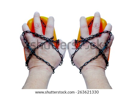 human hand with a small chain on his hands isolate on white background : freedom bondage, imprisonment, confinement concept.