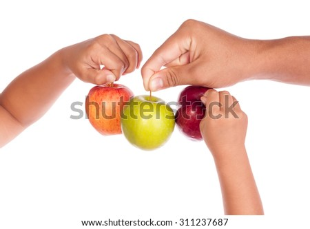 human hand with apples isolate on whit background
