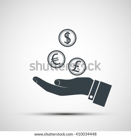 Human hand with coins currencies.  - stock photo