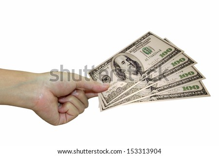 human hand with money isolate on white - stock photo