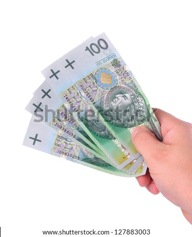 Human hand with money isolated on white