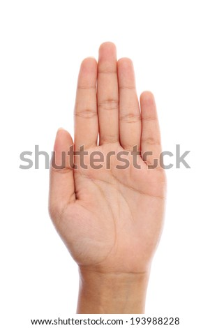 Human hand with open palm sign against white background - stock photo
