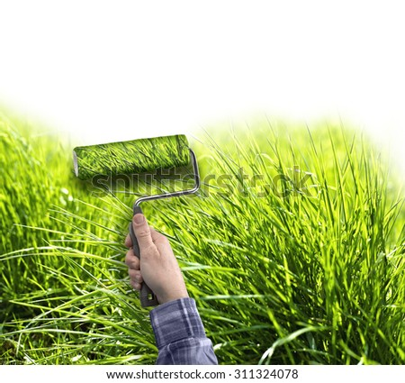 human hand with roller painting true grass on white wall, copy space for text - stock photo