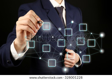 Human hand with social network structure - stock photo