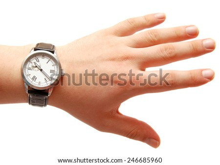 Human hand with watch isolated on the white background - stock photo