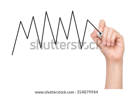 Human hand with writing a diagram - stock photo