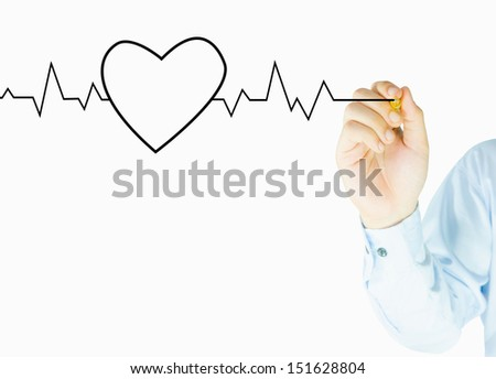 Human hand writes heart graph