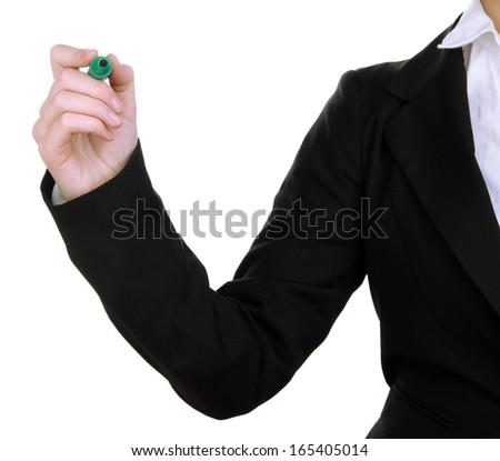 Human hand writing at blank transparent whiteboard - stock photo