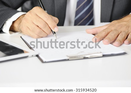 Human hand writing business review