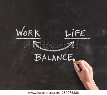 Human Hand Writing Conceptual Diagram for Work and Life in Balance on Black Chalkboard