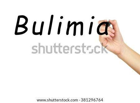 Human hand writing word Bulimia on transparent whiteboard - stock photo