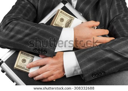 Human hands and case with Money isolated on white background