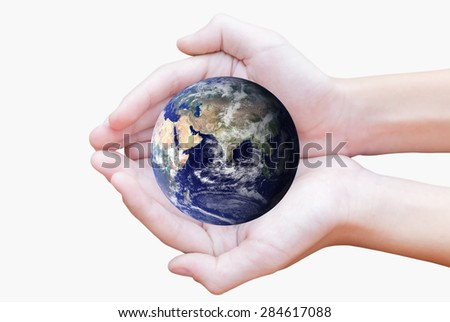 Human hands carrying global Earth. Environment concept. Elements of this image furnished by NASA.