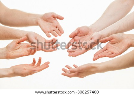Human hands demonstrating a gesture of a discussing, white background - stock photo