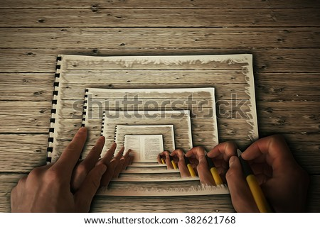 Human hands drawing itself in a album on a wooden table. Create yourself, your future destiny, art illustration, career concept. Hypnotic, parallel reality - stock photo
