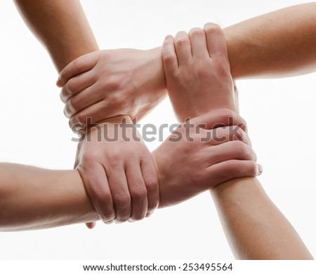 Human hands handshake isolated on white background - stock photo
