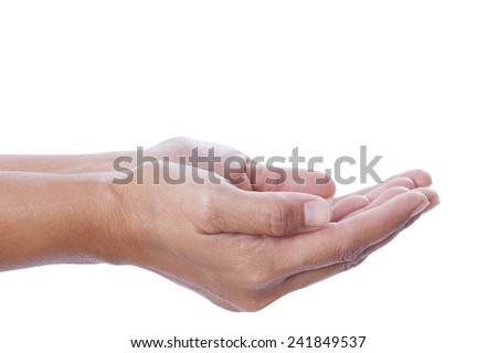 human hands held up. Isolated on white background