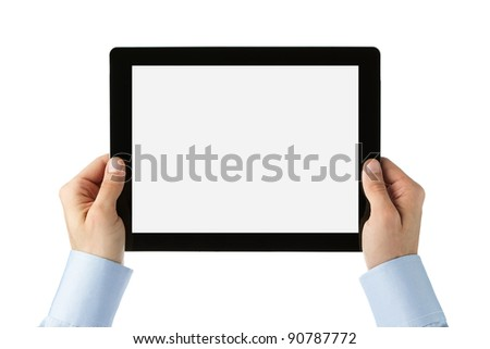 Human hands holding large digital tablet with clipping path for the screen