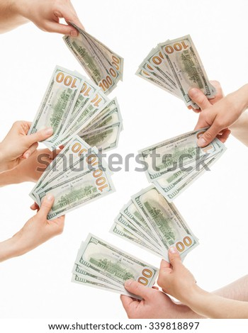 Human hands holding many dollars, white background