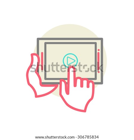 Human hands holding tablet computer with video player on screen. Idea - Mobile technologies for internet video streaming - line  illustration  - stock photo