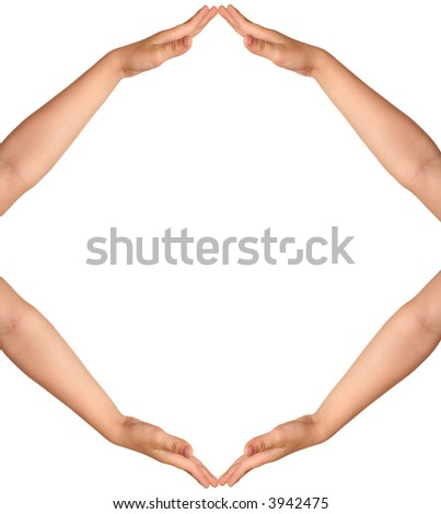 human hands isolated on white