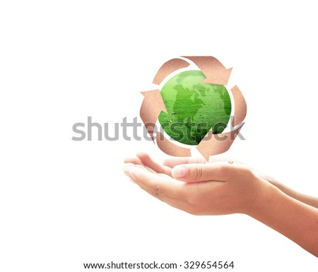 Human hands open for recycle arrow symbol made of old paper texture protecting green earth globe of grass isolated on white background. Recycle icon: Saving world environmental concept. - stock photo