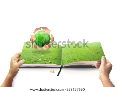 Human hands opening nature nature for recycle arrow symbol made of old paper texture protecting green earth globe grass on white background. Recycle icon: Saving world environmental, Soil Day concept - stock photo