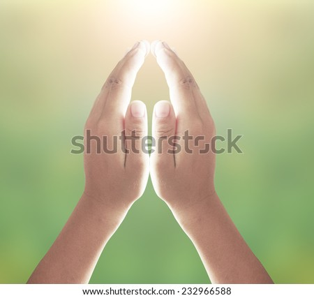 Human hands praying or pay obeisance over nature background. - stock photo