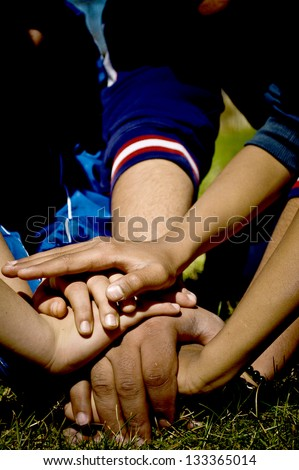 Human hands showing unity - stock photo