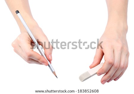 Human hands with pencil and erase rubber, isolated on white