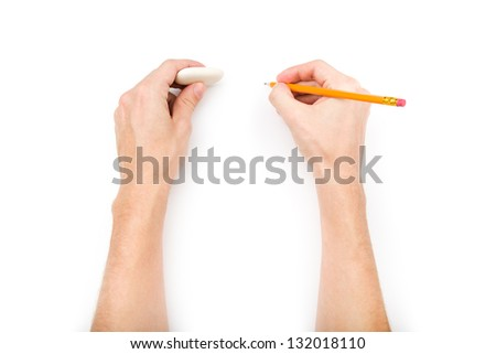 Human hands with pencil and eraser isolated on white background with shadows - stock photo