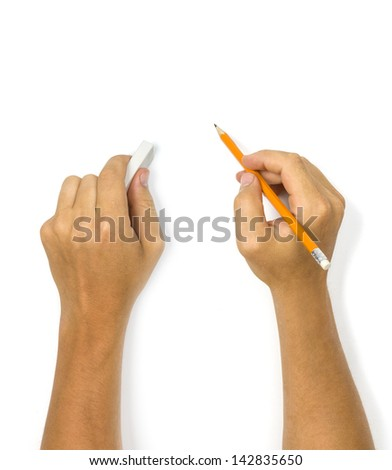 Human hands with pencil and eraser on white - stock photo