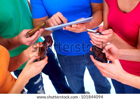 Human hands with tablet computer and a smartphone. Technology. - stock photo